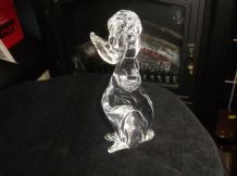 "VINTAGE SOLID CLEAR GLASS MURANO POODLE HEAVY 624g 7.25"" HIGH GREAT CONDITION"